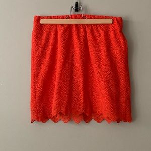 J. Crew Coral Red Lace Skirt
